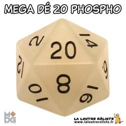 Dé 20 MEGA 35 mm PHOSPHORECENT BLANC de chez Metallic Dice Games, import US