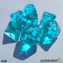 Set de dés DGD Transparent Bleu Lagon