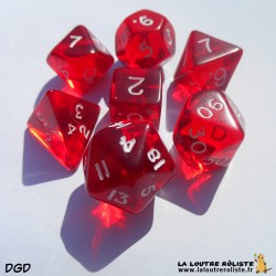 Set de dés DGD Transparent Rouge