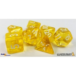 Set de dés Transparent Jaune FLGS disponible chez La Loutre Rôliste