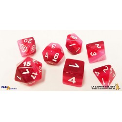 Set de 7 dés Dégradé de ROUGES/ROSES FLGS