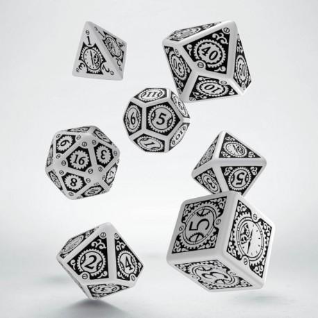 Set de dés Steampunk Clockwork Blanc