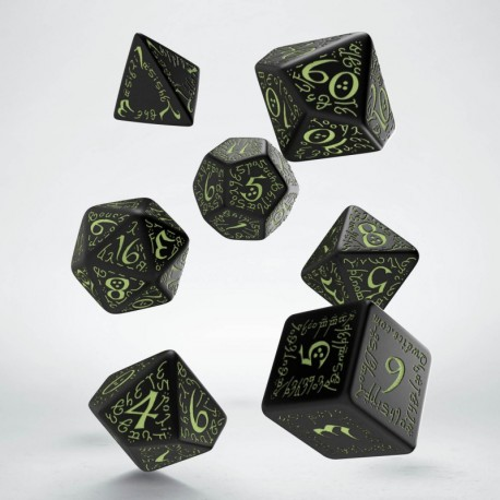 Set de dés Elfique Noir Phosphorescents