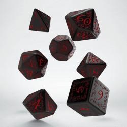 Set de dés Elfique Noir et Rouge
