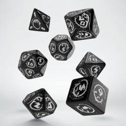 Set de dés Dragons Noir et Blanc Q-Workshop