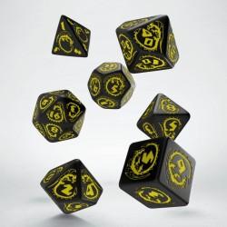 Set de dés Dragons Noir et Jaune Q-Workshop