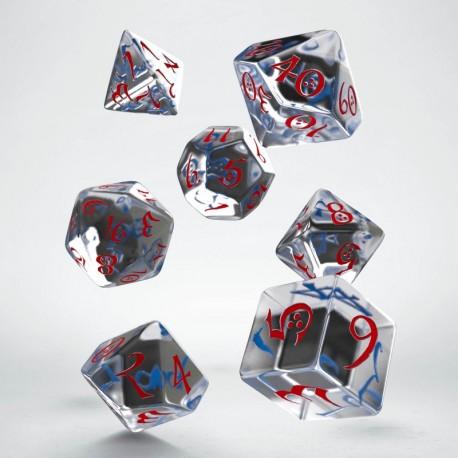 Set de dés Classic Transparent Bleu et Rouge
