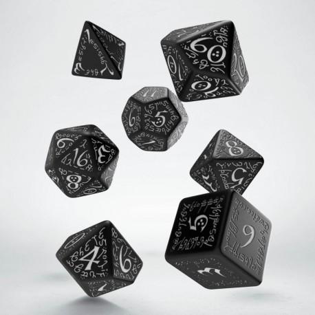 Set de dés Elfique Noir et Blanc Q-Workshop La Loutre Rôliste