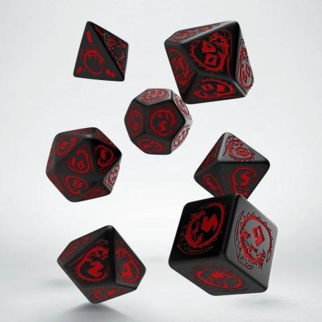 Set de dés Dragons Noir et Rouge