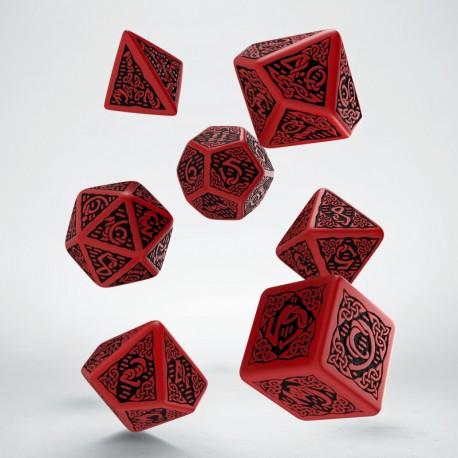 Set de dés Celtic Rouge Q-Workshop Nouveau Design La Loutre Rôliste