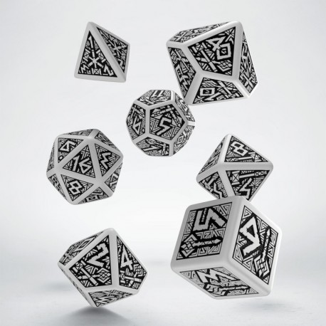 Set de dés Dwarven Blanc Q-Workshop Nouveau Design La Loutre Rôliste