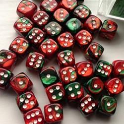 Set de mini dés 6 Gemini Vert et Rouge CHESSEX