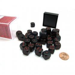 Set de 36 mini dés 6 Opaque Noir et Rouge CHESSEX