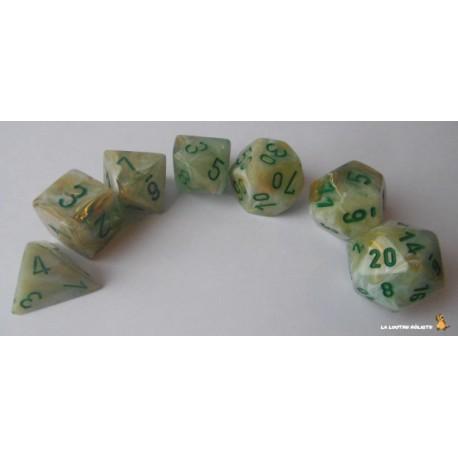 Set de dés Marble Vert