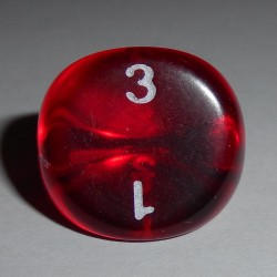 Dé 3 Transparent Rouge