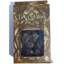Set de dés Elfique Transparent et Noir