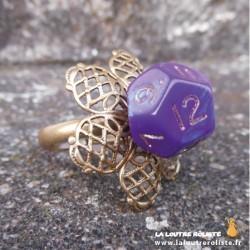 Bague Fleur mini dé 12 violet
