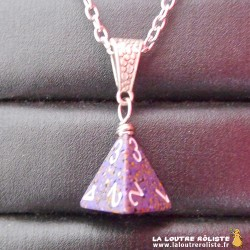 Collier dé 4 violet granit - bijou rôliste pour fan de JDR