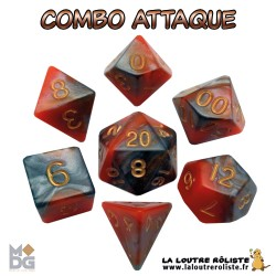 Set de dés COMBO ORANGE & MARRON de chez Metallic Dice Games, import US