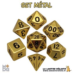 Set de dés METAL aspect OR BRILLANT de chez Metallic Dice Games, import US