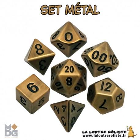 Set de dés METAL aspect OR ANTIQUE de chez Metallic Dice Games, import US