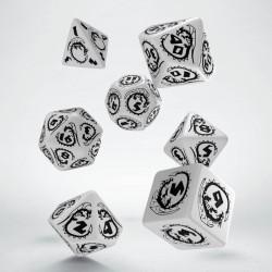 Set de dés Dragons Blanc et Noir