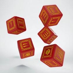 Set de 5 dés 6 faces Orc Rouge et Jaune Q-Workshop