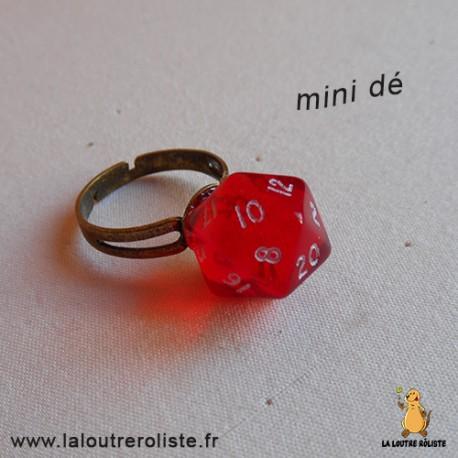 Bague bronze mini dé 20 rouge - bijou rôliste pour fan de Jeux de Rôle