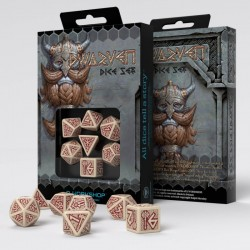 Set de dés Dwarven Beige/Burgundy Q-Workshop