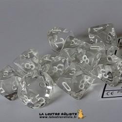 Set de 10 dés 10 faces Transparent Blanc CHESSEX La Loutre Rôliste