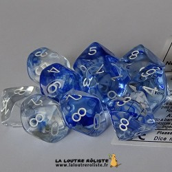 Set de 10 dés 10 faces Nebula Bleu foncé CHESSEX La Loutre Rôliste