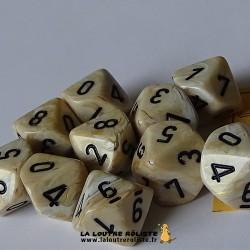 Set de 10 dés 10 faces Marble Ivory CHESSEX La Loutre Rôliste